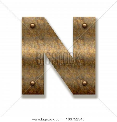 Rusty Metal Letter N. Alphabet Isolated On White Background