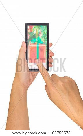 Male Hand Is Holding A Modern Touch Screen Smart Phone.