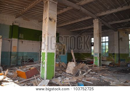 KIEV, UKRAINE - OCT4, 2015: Abandoned industrial complex.October4, 2015 Kiev, Ukraine