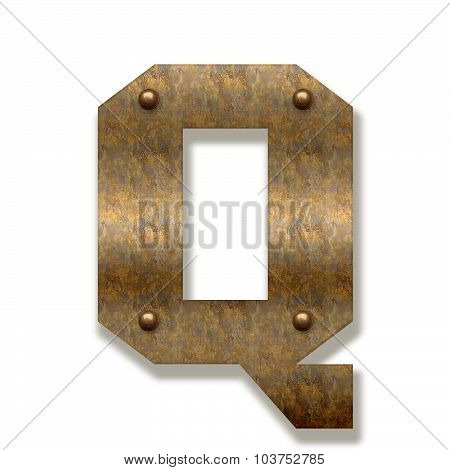 Rusty Metal Letter Q. Alphabet Isolated On White Background