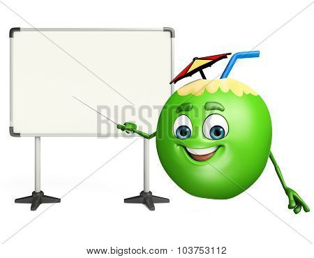 Cartoon Character Of Coconut Fruit With Display Board