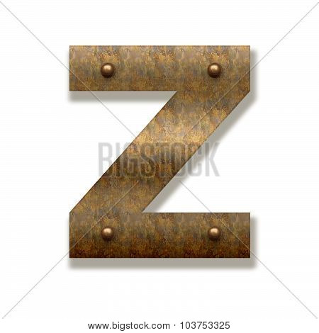 Rusty Metal Letter Z. Alphabet Isolated On White Background
