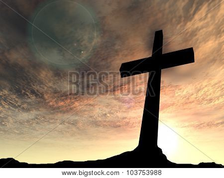 Concept conceptual black cross or religion symbol silhouette in rock landscape over a sunset or sunrise sky with sunlight clouds background