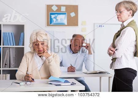 Senior Students Writing Test