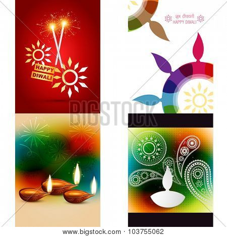 vector collection of different types of diwali background with colorful diya, shubh deepawali (translation: happy diwali)