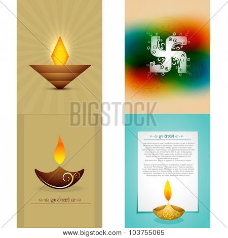 vector set of diwali background illustration with different style diya design, shubh deepawali (translation: happy diwali)