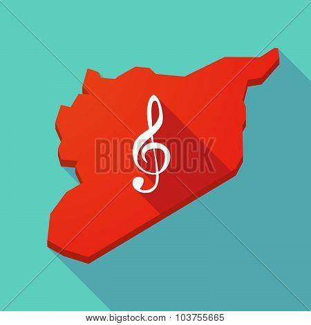 Long Shadow Syria Map With A G Clef