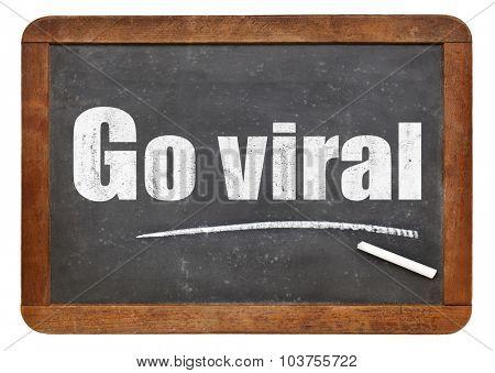Go viral -white chalk text on a vintage slate blackboard
