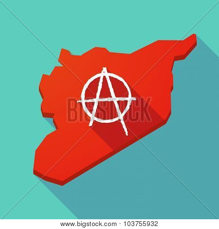 Long Shadow Syria Map With A Peace Sign