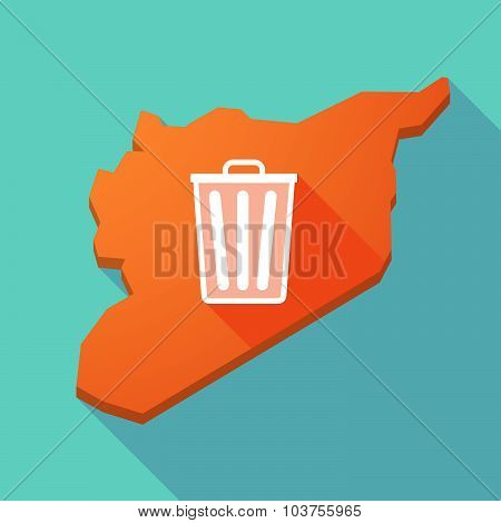 Long Shadow Syria Map With A Trash Can