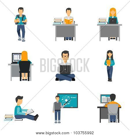 Student Flat Icons Set