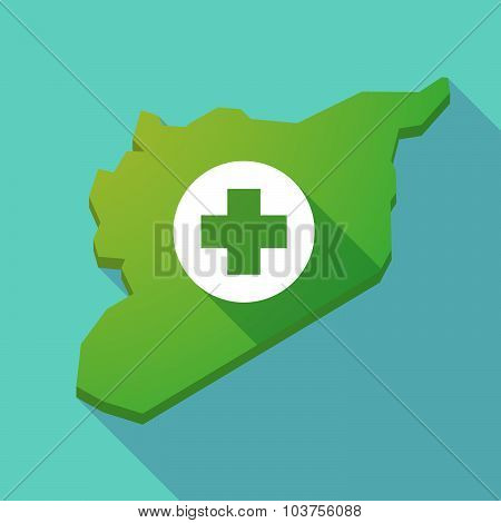 Long Shadow Syria Map With A Round Pharmacy Sign