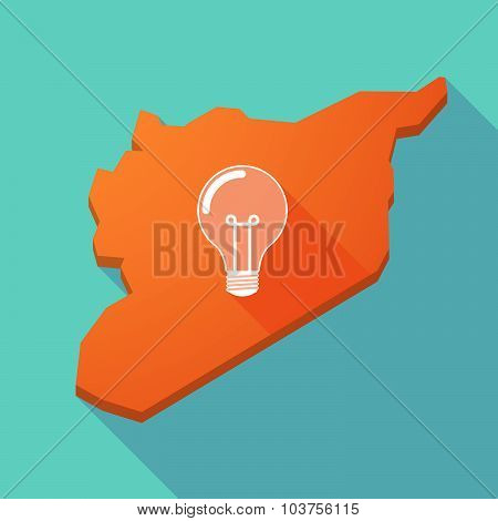 Long Shadow Syria Map With A Light Bulb
