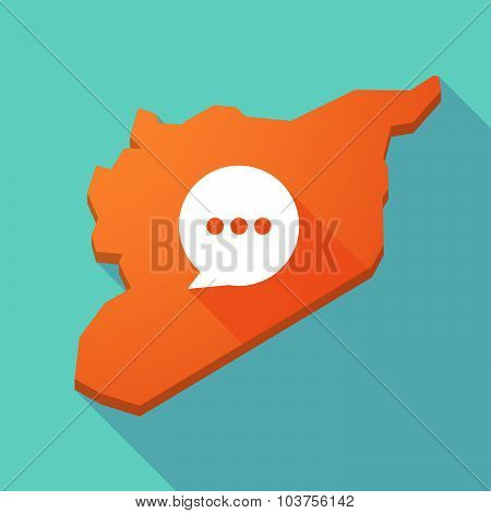 Long Shadow Syria Map With A Comic Balloon