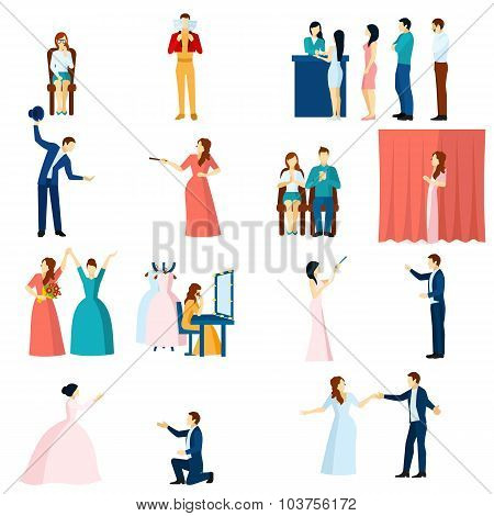 Theater actors flat icons set