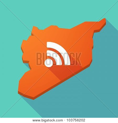 Long Shadow Syria Map With An Rss Sign
