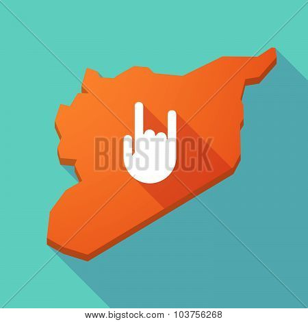 Long Shadow Syria Map With A Rocking Hand