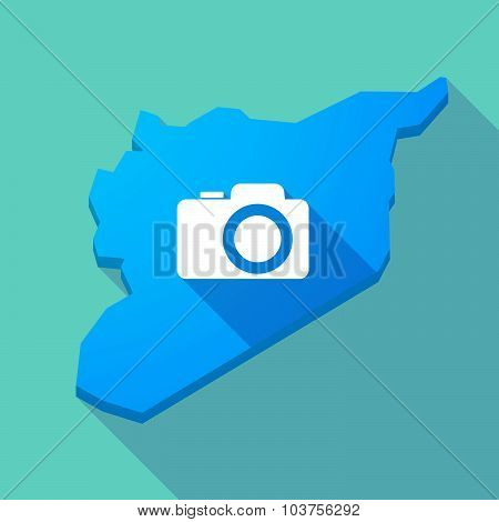 Long Shadow Syria Map With A Photo Camera