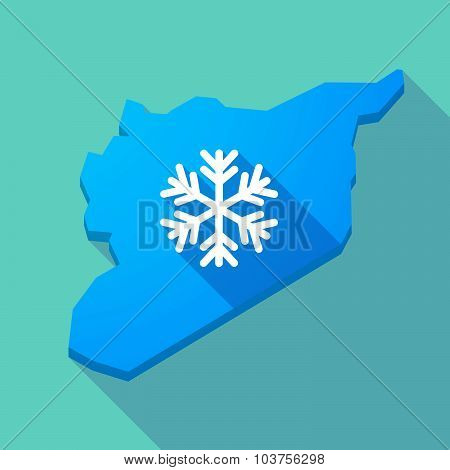Long Shadow Syria Map With A Snow Flake