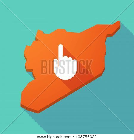 Long Shadow Syria Map With A Pointing Hand
