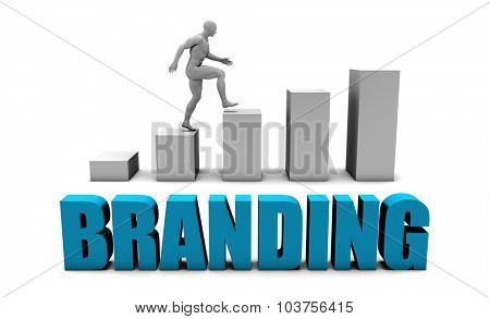 Branding 3D Concept  in Blue with Bar Chart Graph