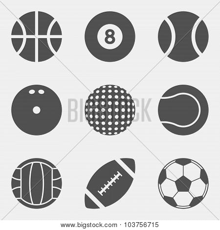 Vector Set Of Sport Ball Icons