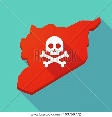 Long Shadow Syria Map With A Skull