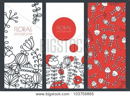 Set Of Vector Floral Banner Backgrounds And Seamless Pattern. Linear Illustration Of Doodle Decorati