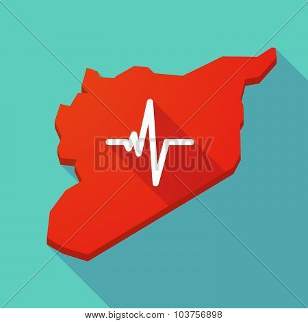 Long Shadow Syria Map With A Heart Beat Sign