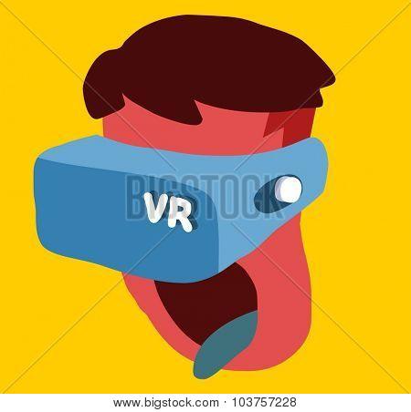 Virtual Reality Era. Vector illustration Flat