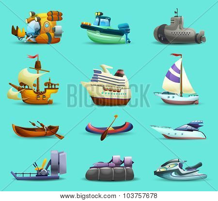 Ships And Boats Icons Set