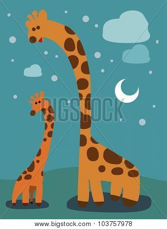 Giraffe family with kid. Vector illustration Flat