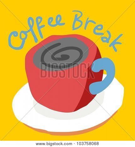 Coffee break script. Vector illustration Flat