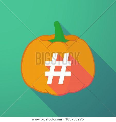 Long Shadow Halloween Pumpkin With A Hash Tag