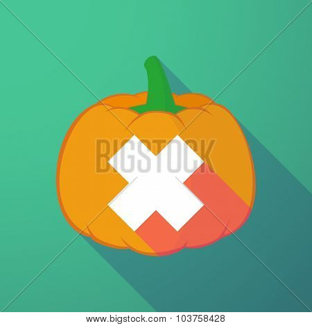 Long Shadow Halloween Pumpkin With An Irritating Substance Sign