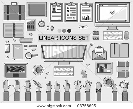 linear vector workplace icons collection, flat style icons set of a top view, gray color.  Signs han