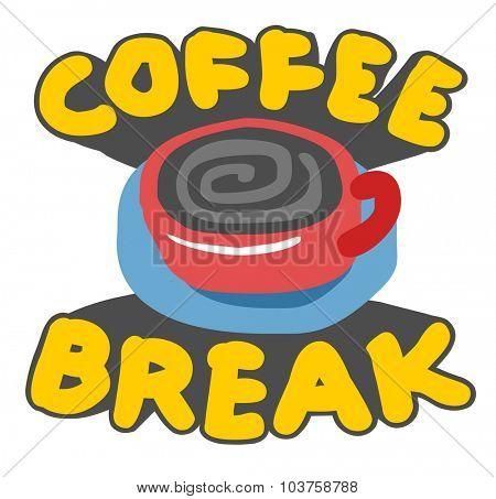 Coffee break logo. Vector illustration Flat