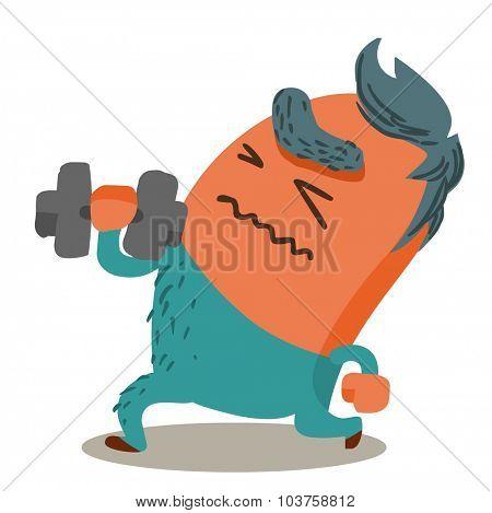 tough Body Building. Vector illustration Flat