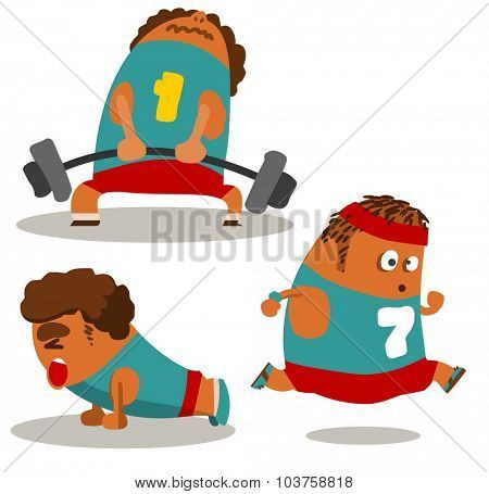 Workout and Push up. Vector illustration Flat