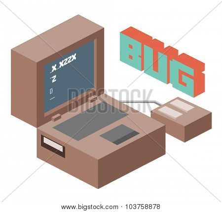 Bug on coding project. Isometric vector illustration