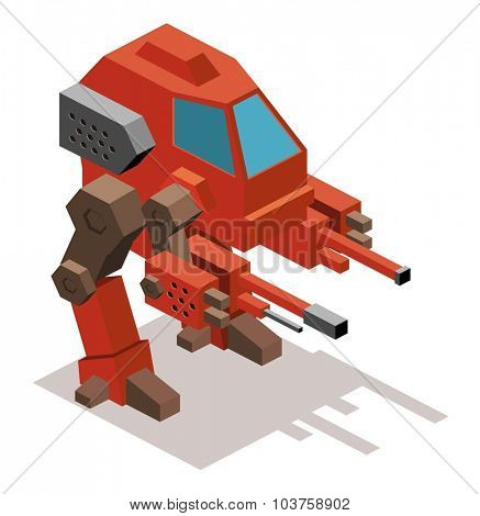Mecha war robot. Isometric vector illustration