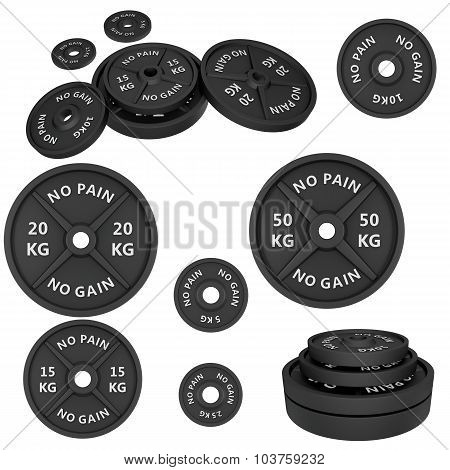 Weights, isolated on white background.