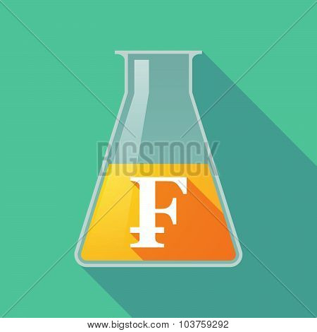 Long Shadow Chemical Test Tube Flask With A Swiss Franc Sign