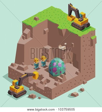 Dinosaur egg found. Isometric vector illustration