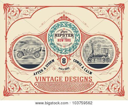 Card design with vintage automobile and train engraving and floral details. Text