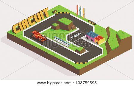 Circuit Car Track Race. Isometric vector illustration