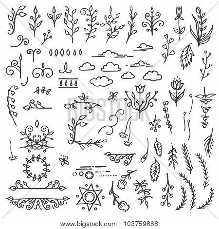 Set of Hand Drawn Black Doodle Design Elements. Decorative Floral Dividers, Arrows, Swirls, Scrolls.