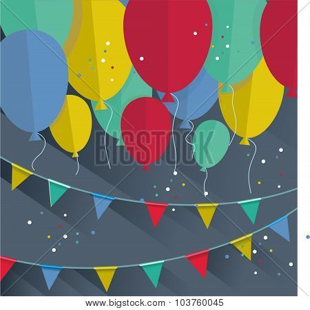 Flat Happy Birthday Festive Background With Confetti,ballons And Flags.