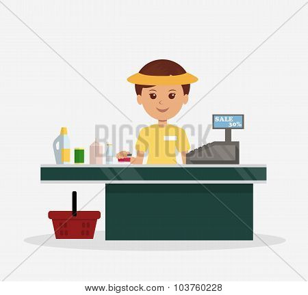 Illustration of the cashier behind the counter