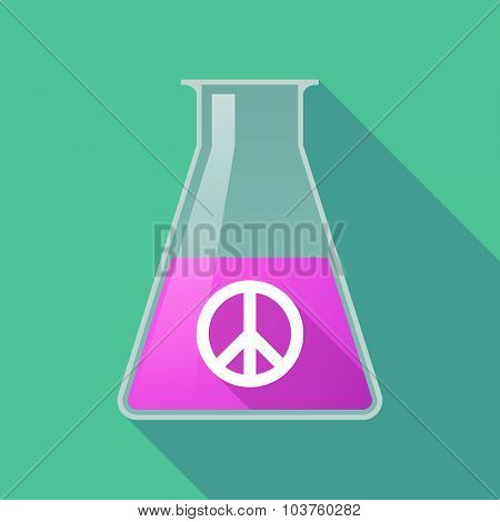 Long Shadow Chemical Test Tube Flask With A Peace Sign